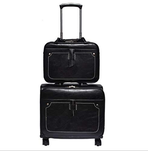 18インチ防水ビジネスマザーセットレザーユニバーサルホイールアルミトロリーバッグ (Color : ブラック) B07QHV2BFP ブラック