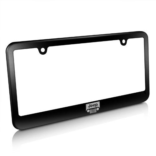 CarBeyondStore Jeep Grill Matte Black Metal License Plate Frame