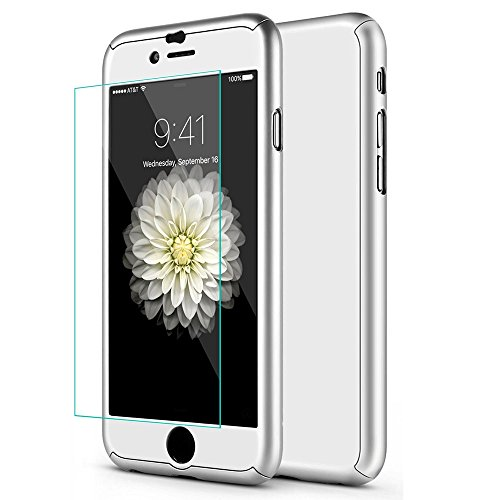 iPhone 7 Plus 5.5 Inch Full Body Hard Case-Auroralove Silver 360 Degree Full Protective Slim Sleek Front Back Case for iPhone 7 Plus 5.5 Inch with Tempered Glass Screen Protector