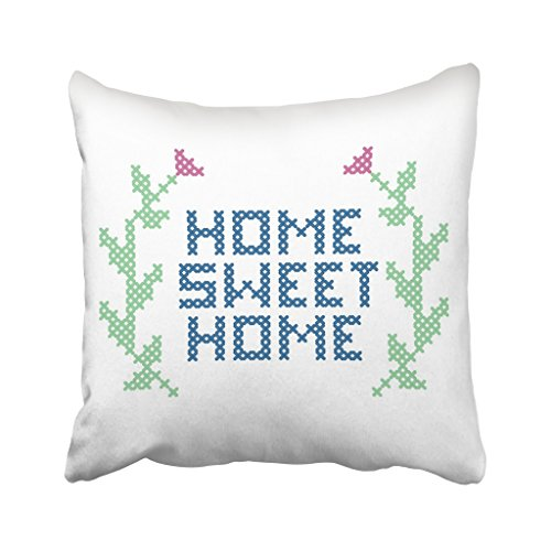 Emvency 18X18 Inch Throw Pillow Cover Polyester Green Embroidery Cross Stitch Sweet White Vintage Leaf Retro Spring Cushion Decorative Pillowcase Square Two Side Print For Home - Joann Cross Stitch