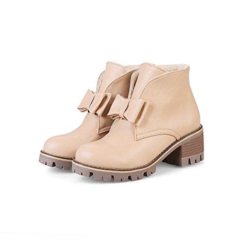YE Damen Ankle Boots Blockabsatz High Heels Plateau Stiefeletten mit Schleife Elegant Modern Schuhe Beige