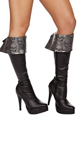 Roma Costume Women's Skull Embroidered Boot Cuffs Grey, Grey/Black, One Size