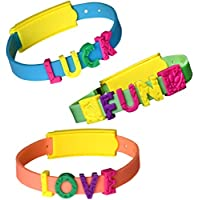 DIY Bracelet Kit for Kids Bulk Arts and Crafts Set Includes [3] Make Your Own Message Bangles & Dozens of Colorful Letter Charms Fun Personalized Jewelry Making for Girls Birthday & More Ages 3+