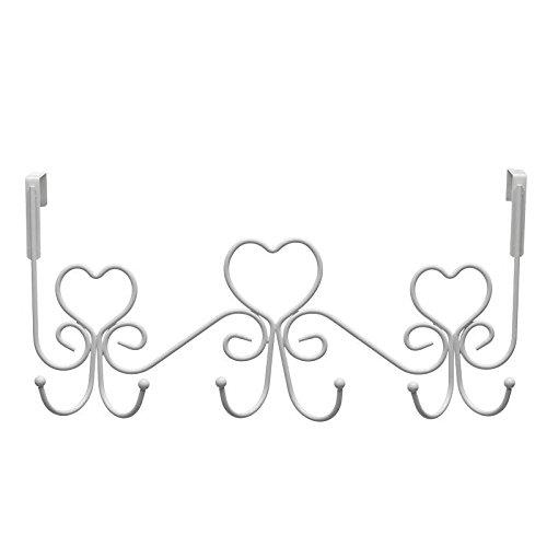 Vintage corazón Perchero de Puerta Blanco