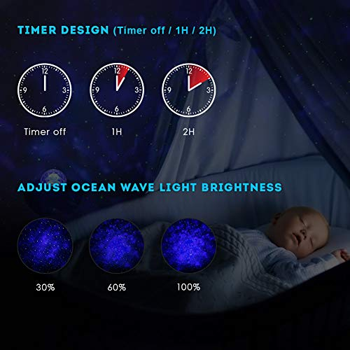 Star Projector Night Light, Delicacy Sky Ocean Wave Starry Projector with Bluetooth Speaker,Rotating LED Nebula Cloud Light for Kids Adults Bedroom Decoration