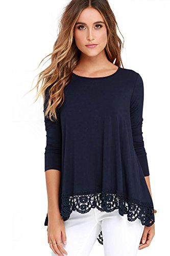 FISOUL Women's Tops Long Sleeve Lace Trim O-Neck A-Line Tunic Tops Large Navy Blue