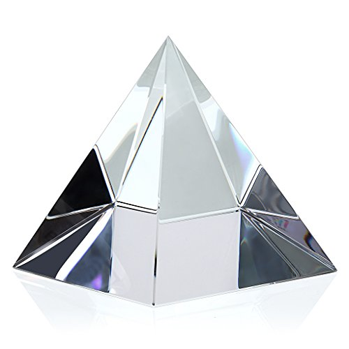 OwnMy Pyramid Crystal Prism Desk Ornament Suncatcher with Gift Box for Photography and Meditation Healing (4 Inch Tall)