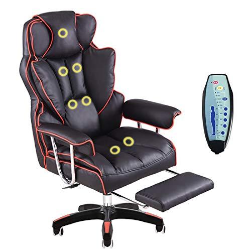 ADHKCF Sillon reclinable de cuero con alas Sillon giratorio de masaje Silla de escritorio de oficina Respaldo alto Sillon de juegos ejecutivo para computadora Mecanismo de inclinacion sincronizada de