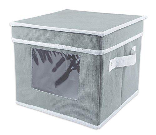 DII Salad Plate Storage Bin with Removable Separators for Protecting or Transporting Fragile Dishware or China - Gray (Bin Salad)