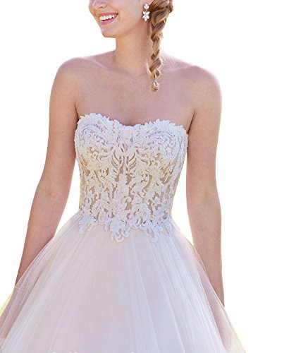 Lava-ring Women's Sweetheart Lace Embroidery Backless Princess Dress Wedding Ball Gown by Lava-ring