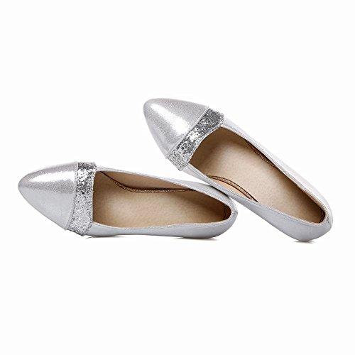 Mee Shoes Damen bequem modern elegant Niedrig Shallow Mund Pailletten spitz dicker Absatz Geschlossen Pumps Silber