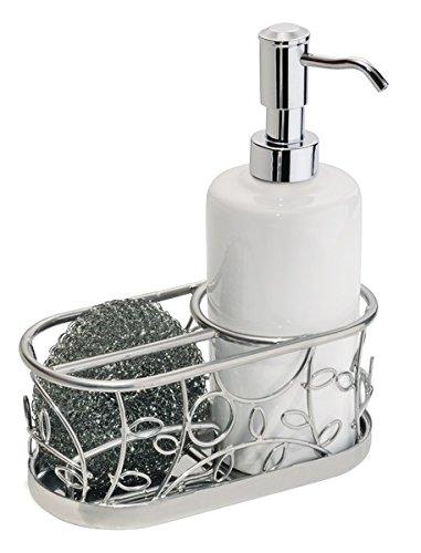 mDesign Dosificador de jabón Recargable – Dispensador de jabón líquido con Soporte  para esponjas y estropajos a942d06cefbd