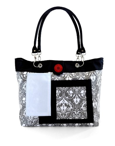 2 Red Hens Rooster Diaper Bag, Grey Damask