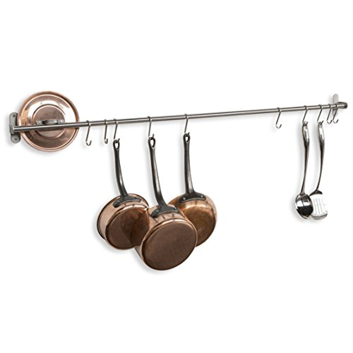 WALLNITURE Kitchen Wall Mount Rail Towel Bar Rack with Hooks Stainless Steel 47 Inch