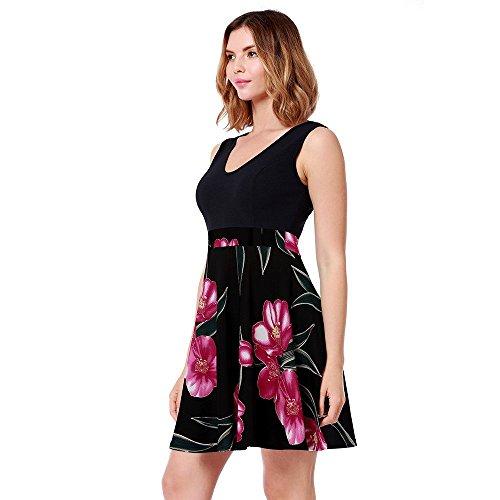 Cru Col V Féminin Ael Sans Manches D'une Ligne Robe De Réservoir De Cocktail Robes Élégantes Floral Rose Noire