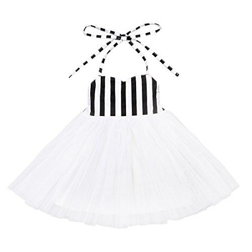 Flofallzique Girls Dress Tutu Baby Dress White Tulle Dress Birthday Party Toddler Dress (8) by Flofallzique