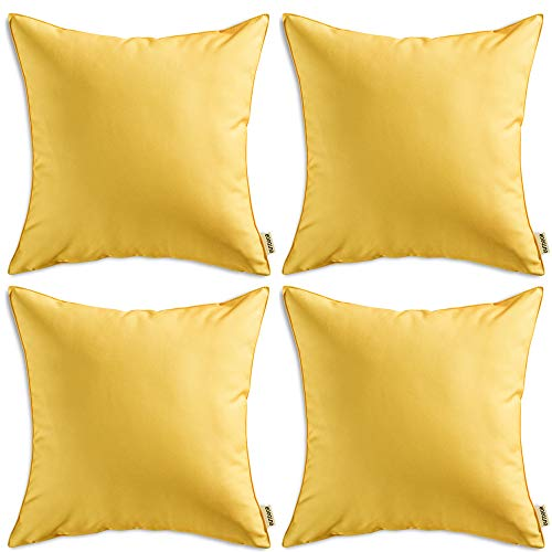 - MIULEE Pack of 4 Decorative Outdoor Waterproof Pillow Cover Square Garden Cushion Case PU Coating Throw Pillow Cover Shell for Tent Park Couch 18x18 Inch Yellow