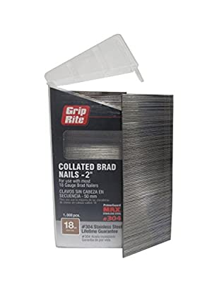 "Grip Rite Prime Guard MAXB64878 18-Gauge 304-Stainless Steel Brad Nails in Belt-Clip Box (Pack of 1000), 2"" by Primesource"