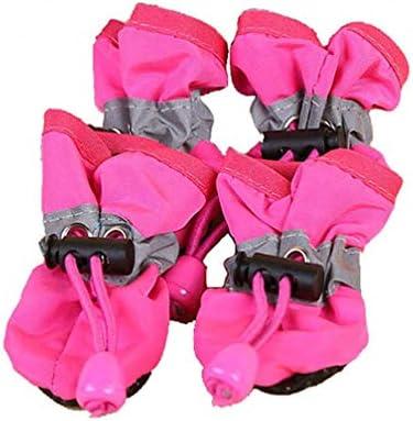 LJSLYJ 4個ポータブルペット犬の靴カバー滑り止め防水レインブーツ秋冬犬足柔らかい靴(ローズレッド、L)