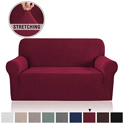 - Lycra Jacquard Sofa Cover for Loveseat 1 Piece Furniture Protector/Cover for Sofa and Couch Stylish Polyester Spandex Jacquard Fabric Small Checks Sofa Slipcover (Loveseat, Burgundy Red)