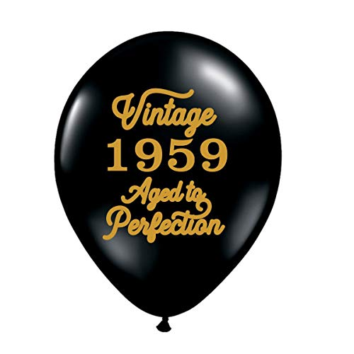 Vintage 1959 Black Balloons - 60th Birthday Balloons - Set of 3-60th Birthday Party Balloons Black and Gold]()