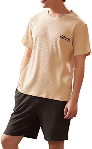 綿100% パジャマ YGOCH メンズ 半袖 上下セット 春夏 柔らかく 紳士 シルクパジャマ 薄手 快適 ポケット付 ゆったり 軽い 半袖&短ズボン
