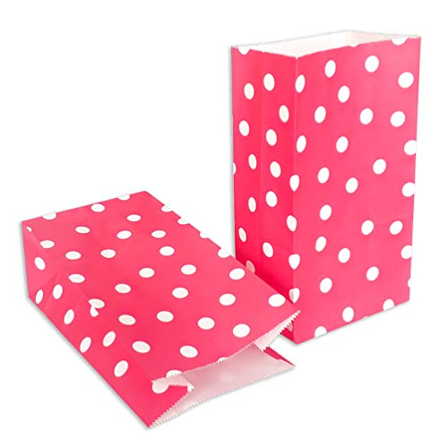 ADIDO EVA Red Paper Party Favor Bags Printed Kraft Paper Bags Paper Gift Bags with Polka dot for Sweets Biscuits Nuts Chocolates Christmas Gifts Birthday Wedding Party or Anniversary (50 Pcs Red)