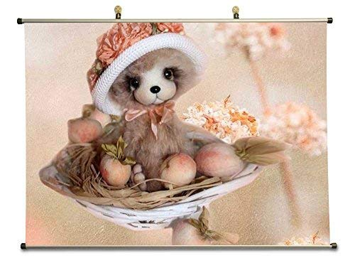 Peach Scroll - Fantasy Teddy Bear Little Miss Peach - Canvas Wall Scroll Poster with Metal stretchers (28x20 inches)