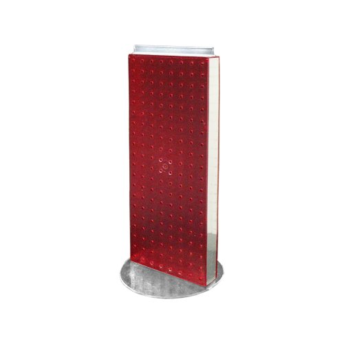 Azar 700509-RED Non-Revolving Base Neon Pegboard Counter Unit, 8-Inch Width by 20-Inch Height on 9-Inch, Red by Azar
