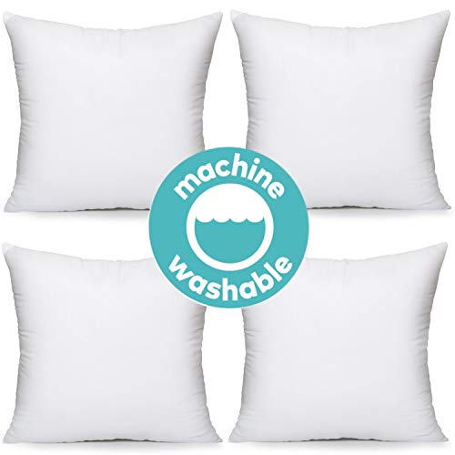 MoonRest Premium Square White Pillow Insert Form with Hypoallergenic Polyester Fiber Filling, sham Stuffer for Sofa Throw - Set of 4-17x17 Inch