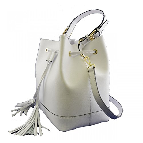 Donna Borsa A Italy Bianco Toscana In Pelletteria Made Mano Pelle Colore RAAdrq5n
