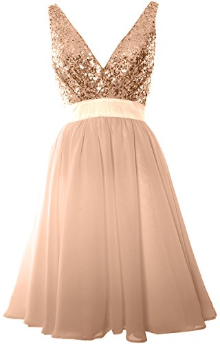 MACloth Women V Neck Sequin Cocktail Dress Vintage Short Formal Prom Party Gown Rose Gold