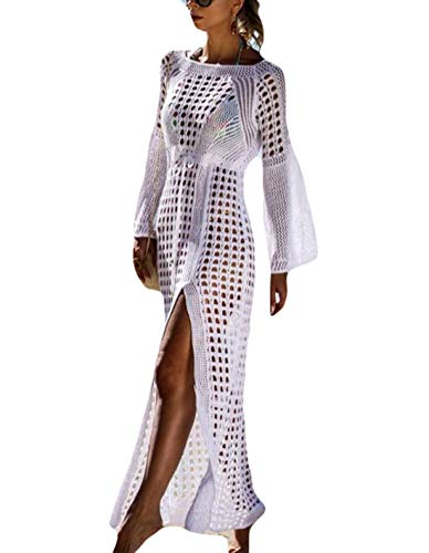 Ailunsnika Women Sexy Crochet Bikini Beach Dress O Neck Hollow Flare Sleeve Long White Swimsuit Cover Up ()