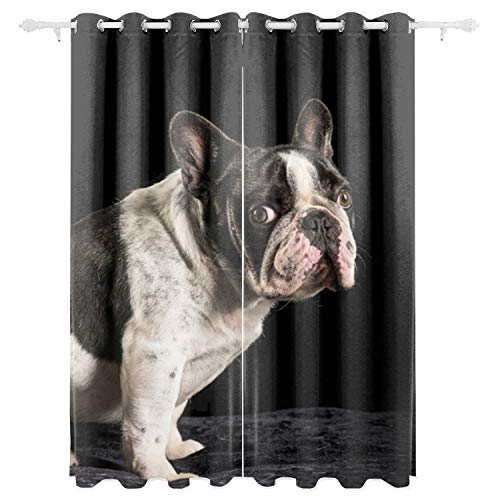 BDZC Bulldog Blackout Window Curtains Panels for Living Room Bedroom Darkening Thermal Insulated Printed Grommet Window Drapes Set of 2 Panels