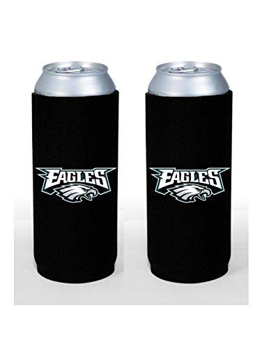 NFL Football 2015 Team Color Logo Tall Boy 24 oz Can Holder Koozie Cooler 2-Pack (Philadelphia Eagles)
