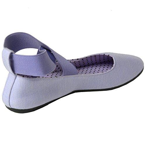Alpine Schweizer Pfingstrose Frauen Ballerinas Elastische Knöchelriemen Schuhe Slip On Loafers Lila