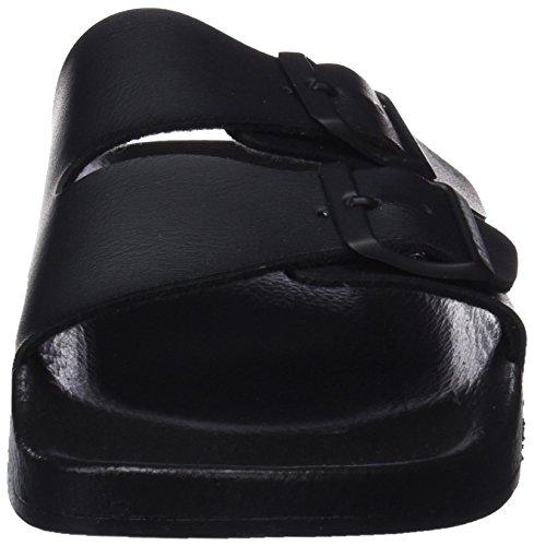 D. Franklin Buckle Slides, Sandalias con Punta Abierta Unisex Adulto Negro (Black)