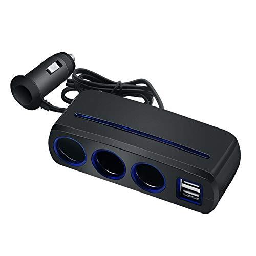 (XuBa Cigarette Lighter Adapter Multiple Ports USB Car Charger Cigarette Lighter Splitter Pearl Black)