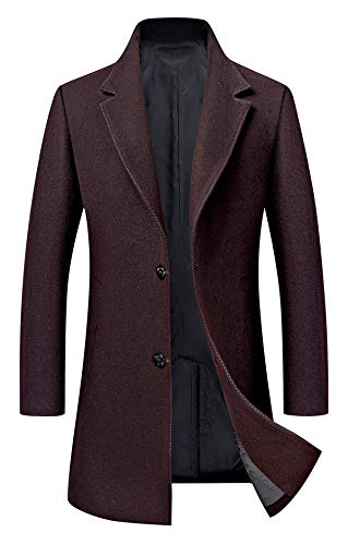 Men's Trench Coat Wool Blend Slim Fit Jacket Single Breasted Business Top Coat 577 Wine Red L ()