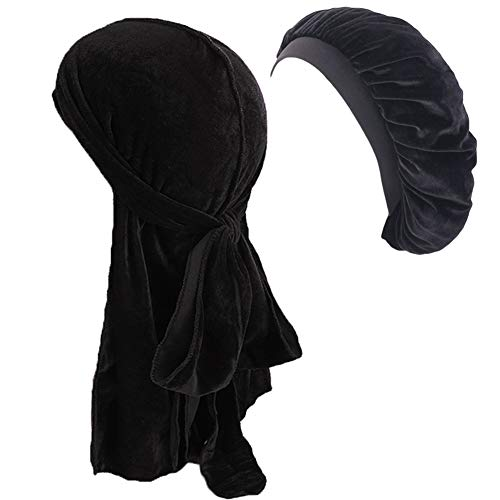 Velvet Durags Long Tail Wide Straps Cap and Hair Wrap Sleeping Bonnet Hat Set for Men Women Waves Frizzy Curly Hair