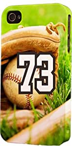 Baseball Sports Fan Player Number 73 Plastic Snap On Flexible Decorative Apple iPhone 4/4s Case
