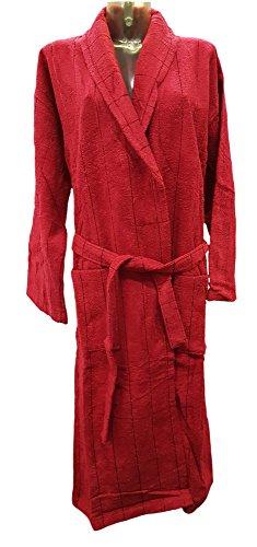 Bademantel, Morgenmantel für Herren, bordeaux rot dezent gestreift, Größe M - XL ,100% aus Baumwolle (Velourbaumwolle) (XL)