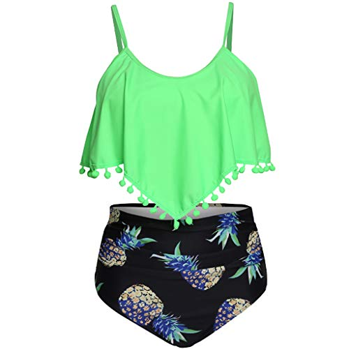Pengy Women's Swimsuit Tassel Plus Size Lotus Leaf Print Swimwear Ladies High Waist Split Bikini Green