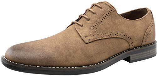 JOUSEN Men's Dress Shoes Suede Plain Toe Oxford Casual Dress Shoes for Men (9.5,Business Casual Suede-624-Brown)