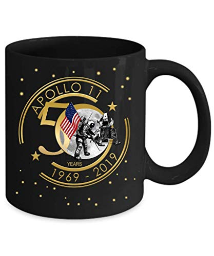 Apollo 11 50th Anniversary Moon Landing Coffee Mug Gift Black Starfield