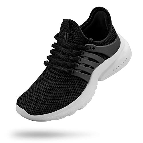 Troadlop Boys Tennis Shoes Lightweight Slip On Walking Sneakers Kids Black/White Size 3 M US Big Kid (Best Walking Sneakers For Wide Feet)