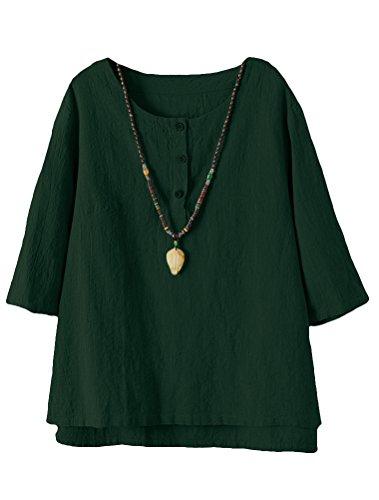 Minibee Women's 3/4 Sleeve Cotton Linen Jacquard Blouses Top T-Shirt (L, Dark - Sleeve 3/4 Blouse Top