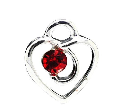 Housweety 20PCs Silver Plated Red Rhinestone Love Heart Charm Pendants 13x12mm(1/2