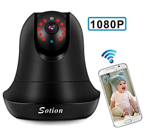 SOTION Super HD 1080P Internet WiFi Wireless Network IP Security Surveillance Video Camera System, Baby and Pet Monitor with Pan and Tilt, Two Way Audio & Night Vision