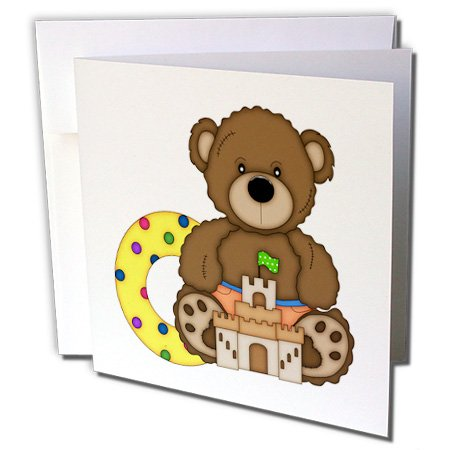3dRose Anne Marie Baugh - Bears - Cute Beach Bear With Sandcastle and Water Floatie - 1 Greeting Card with envelope (gc_210745_5)